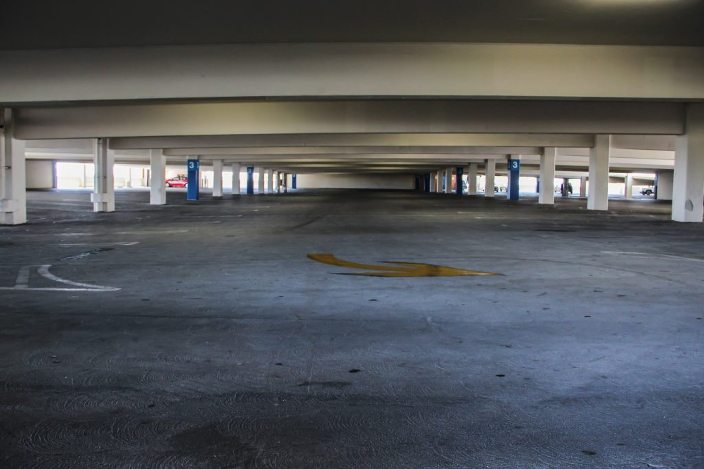 Empty parking lots also due to COVID-19