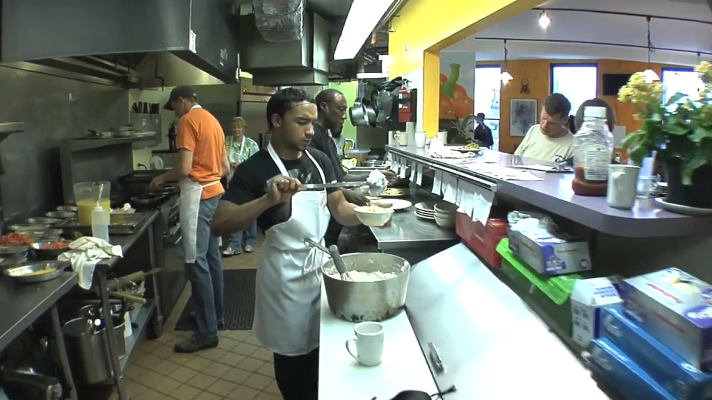 Kitchen staff are everyday heroes as well helping feed the homeless.