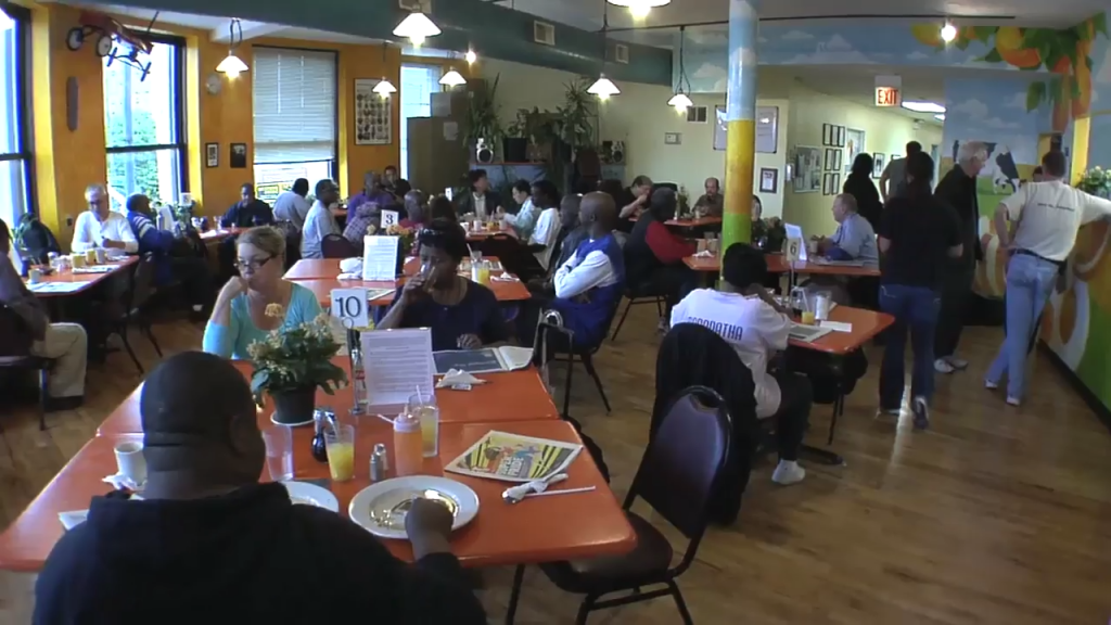 A shot of Karin's restaurant helping feed the homeless.